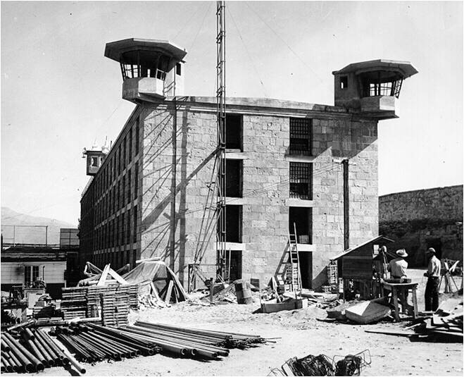 Nevada State Prison, B-Block under construction in 1948