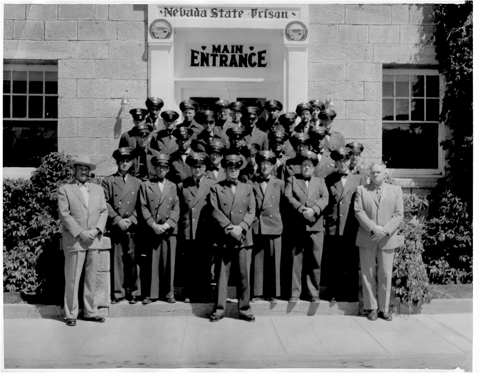 Nevada State Prison, and officers at the entrance to the administrative headquarters
